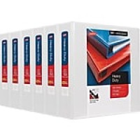 "Staples Heavy-Duty 2"" 3-Ring View Binders, White, 6/Carton (HD24688CT)"