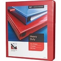 "Staples® Heavy-Duty View Binder with D-Rings, Red, 220 Sheet Capacity, 1"" Ring, Letter"