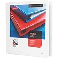 "Staples® Heavy-Duty View Binder with D-Rings, White, 350 Sheet Capacity, 1-1/2"" Ring"