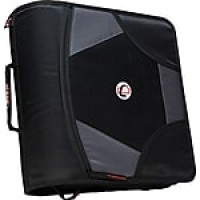 "Case•it D-186 4"" Black Zipper Binder with Built-in Tab File"