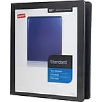 "Staples® Standard View Binder with D-Rings, Black, 220 Sheet Capacity, 1"" Ring"
