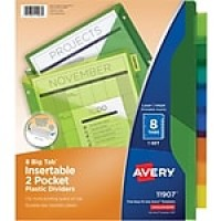 "Avery Big Tab Two-Pocket Insertable Divider Plastic, 11"" x 8 1/2"", Multicolor, 8 Tabs/Set (11907)"