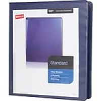 "Staples® Standard View Binder with D-Rings, Blue, 220 Sheet Capacity, 1"" Ring"