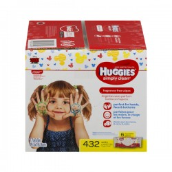 Huggies Simply Clean Baby Wipes Fragrance Free Soft Packs - 6 ct