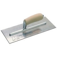 12 in. x 5 in. Carbon Steel Plaster Finish Trowel - Hardwood Handle