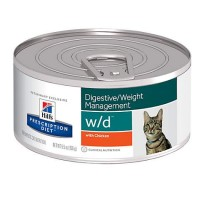 Hill's Prescription Diet w/d Digestive/Weight Management with Chicken Canned Cat Food, 5.5 oz., Case of 24