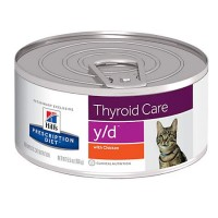Hill's Prescription Diet y/d Thyroid Care with Chicken Canned Cat Food, 5.5 oz., Case of 24