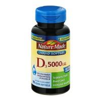 Nature Made Vitamin D3 5000 IU Ultra Strength Supplement Liquid Softgels