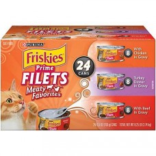 Purina Friskies Prime Filets Meaty Favorites Adult Wet Cat Food Variety Pack, 5.5 oz., Count of 24
